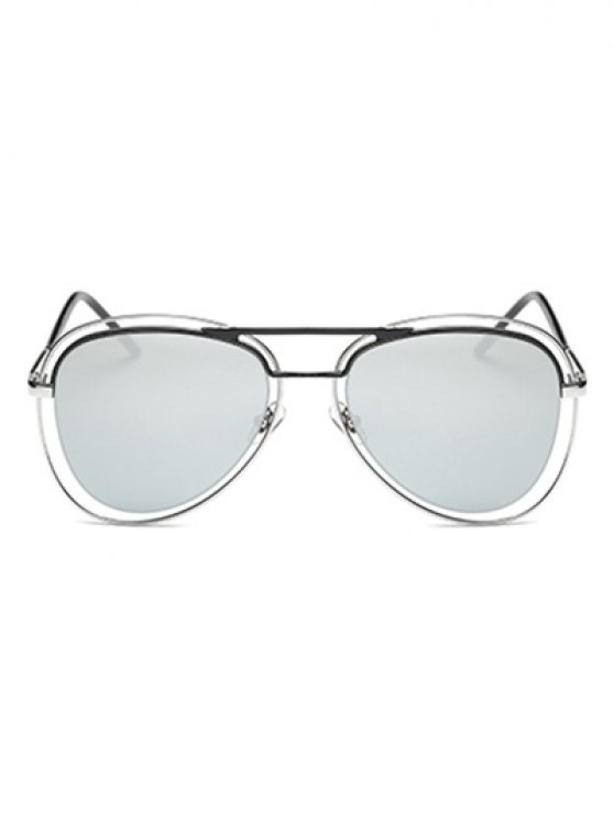 Double Rims Mirrored Pilot Sunglasses -   Mobile