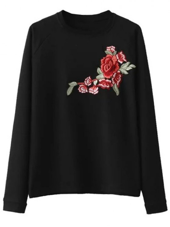 Floral Embroidered Raglan Sleeve Sweatshirt - BLACK L Mobile
