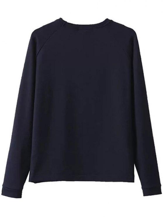 Floral Embroidered Raglan Sleeve Sweatshirt - PURPLISH BLUE S Mobile