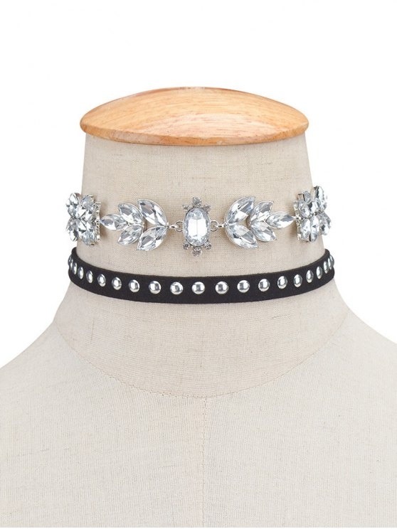 lady 2PCS Faux Crystal Rivets Velvet Chokers - BLACK
