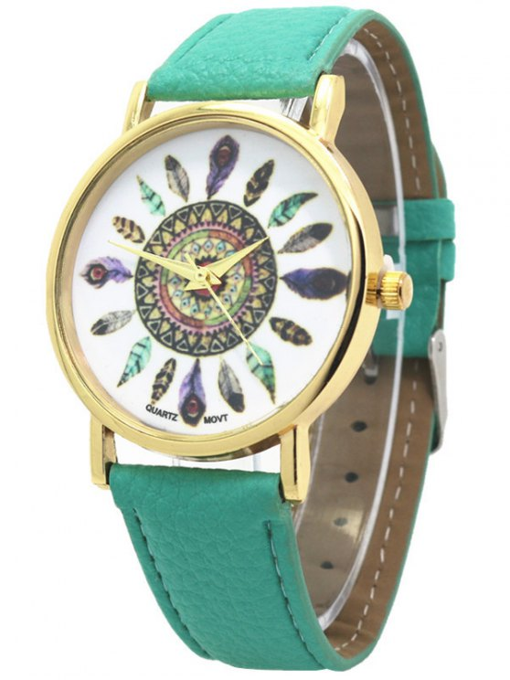 Faux Leather Feather Pattern Quartz Watch - GREEN  Mobile