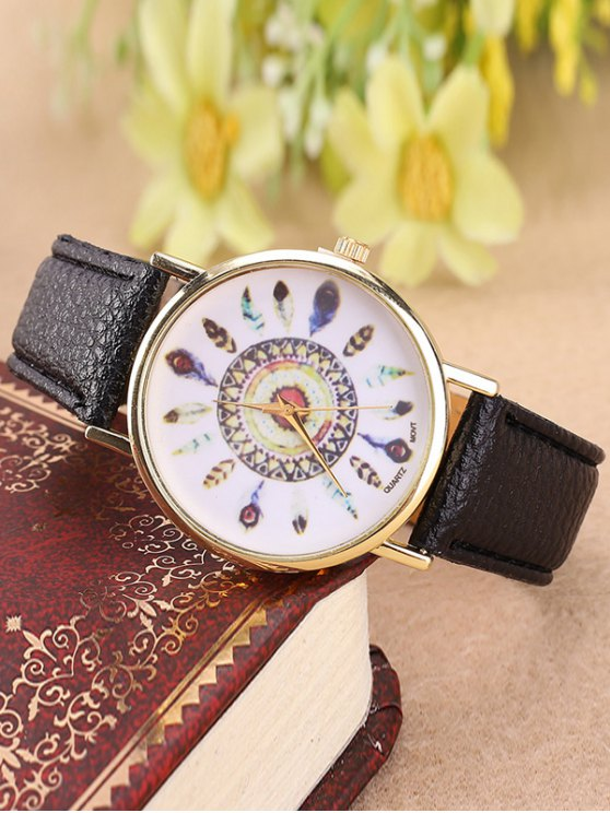 Faux Leather Feather Pattern Quartz Watch - BLACK  Mobile