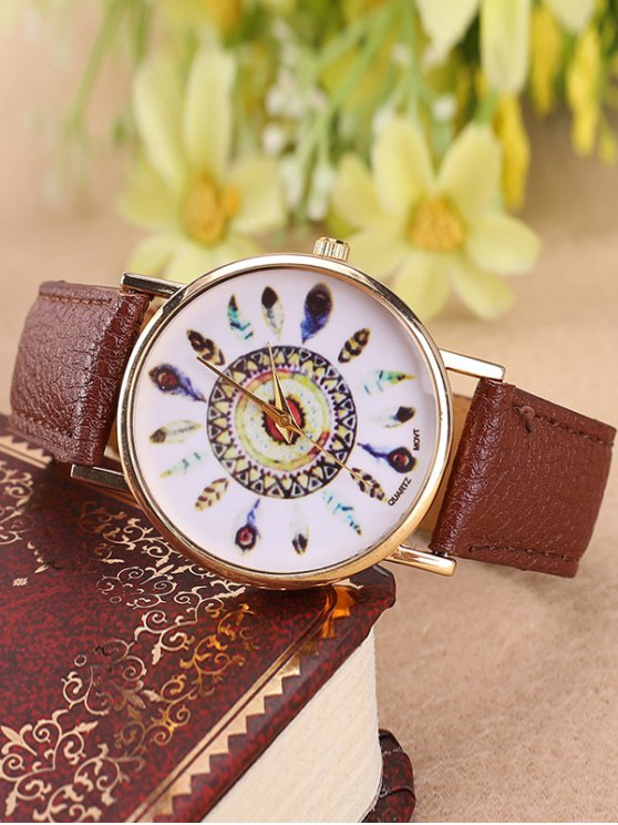 Faux Leather Feather Pattern Quartz Watch - BROWN  Mobile