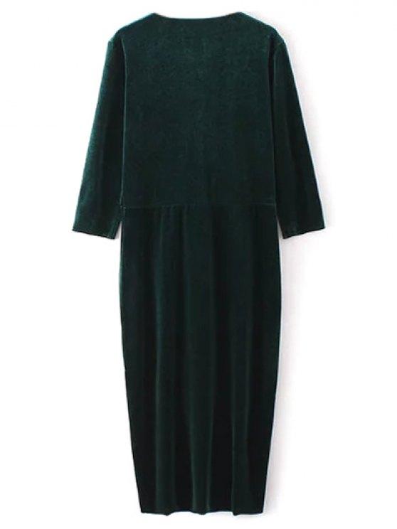 Twist Front V Neck Velvet Dress - GREEN M Mobile
