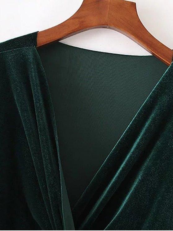 Twist Front V Neck Velvet Dress - GREEN S Mobile