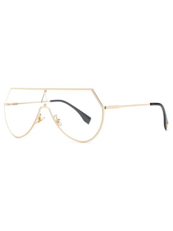 Transparent Lens Shield Sunglasses - GOLDEN  Mobile