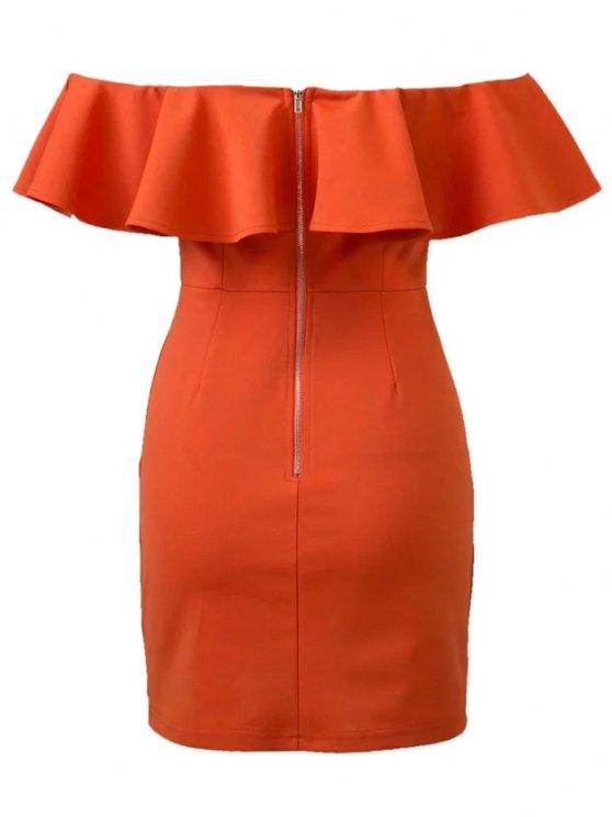 Flounced Off Shoulder Bodycon Dress - JACINTH L Mobile