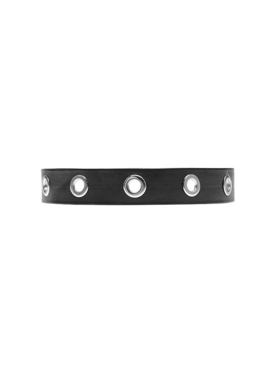 Hollowed Round Faux Leather Choker Necklace - BLACK  Mobile
