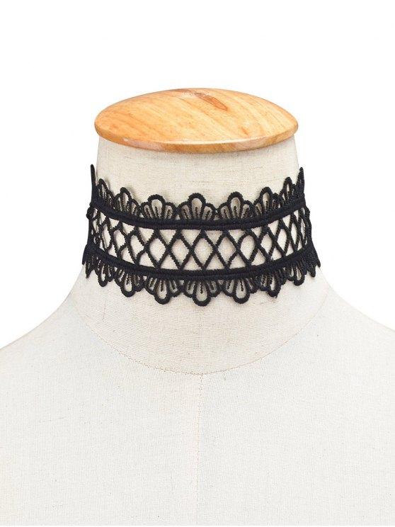 Vintage Lace Crown Geometric Choker - BLACK  Mobile