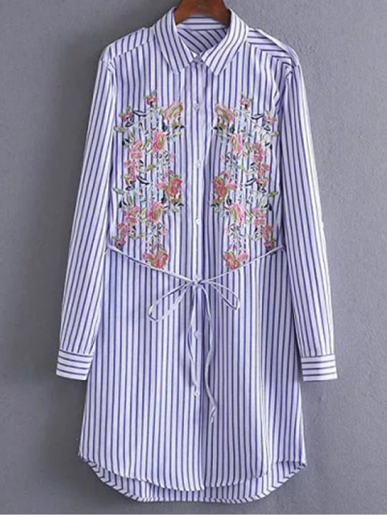 Embroidered Striped Shirt Tunic Dress - STRIPE L Mobile
