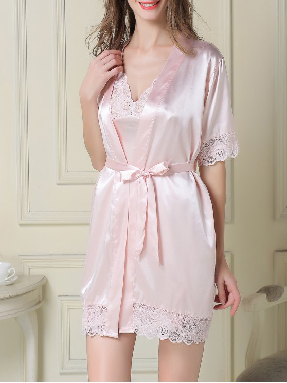 new Silky Slip Dress and Robe - LIGHT PINK XL