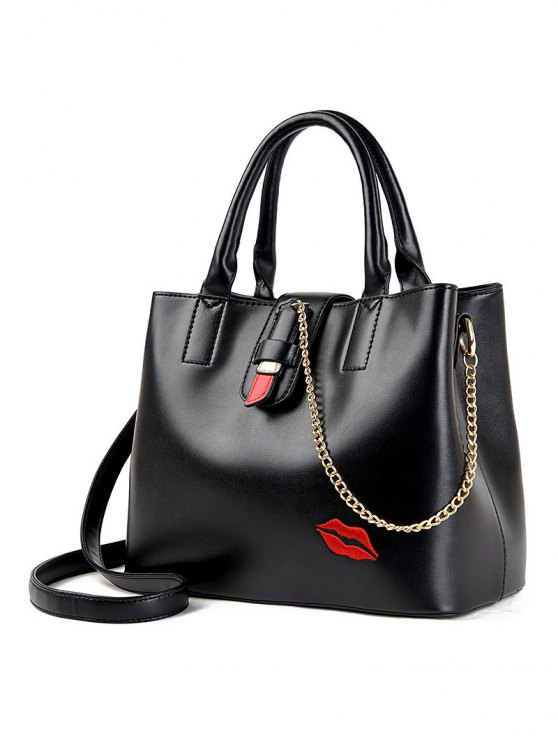 Chains Embroidered Lip Handbag -   Mobile