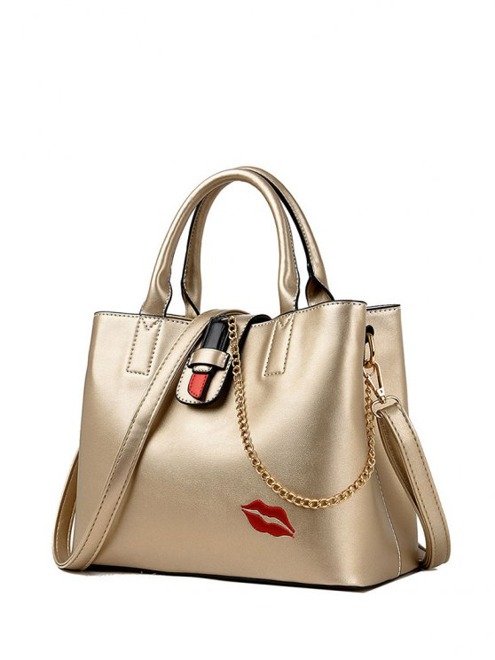 Chains Embroidered Lip Handbag -   Mobile