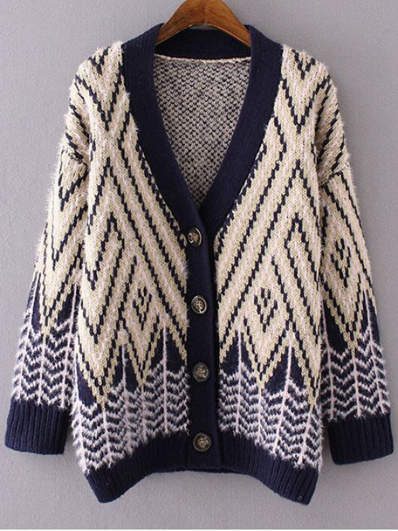 best Chevron Stripe Fluffy Cardigan - YELLOW ONE SIZE