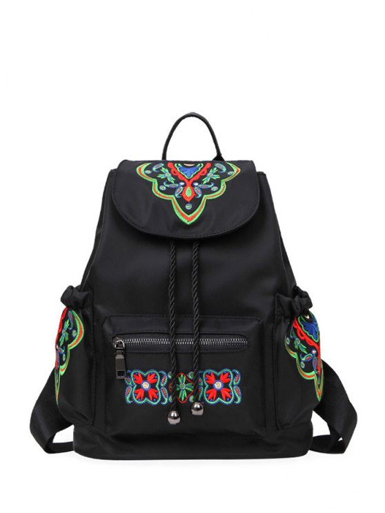 lady Nylon Embroidered Backpack - BLACK