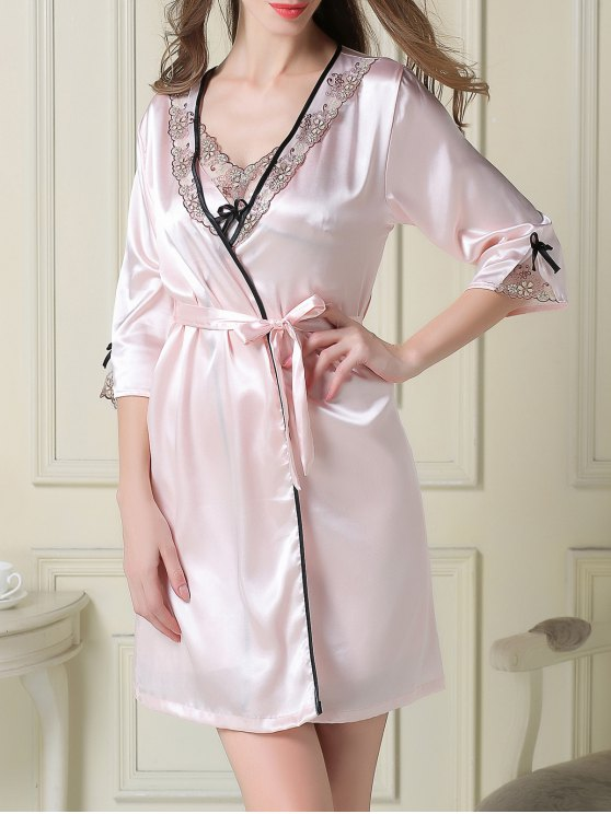 Satin Slip Dress and Sleep Robe - LIGHT PINK 2XL Mobile