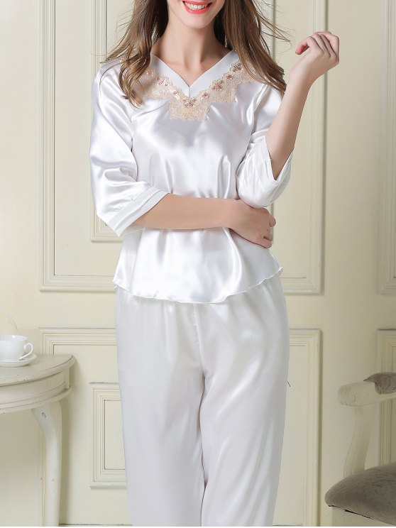 Satin Tee and Capri Pants Pajama - WHITE M Mobile