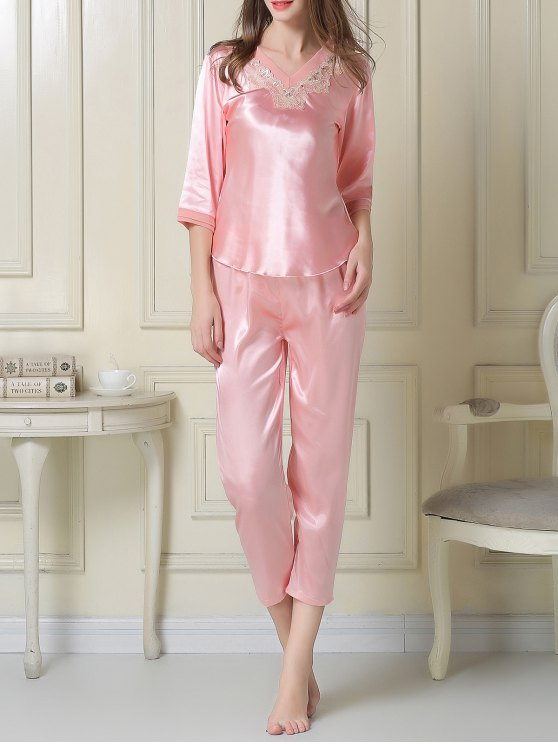 Satin Tee and Capri Pants Pajama - PINK M Mobile