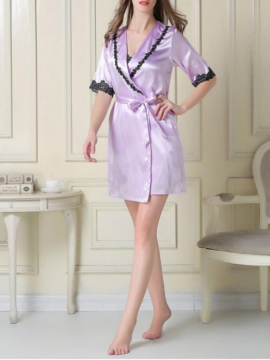 Satin Slip Dress and Belted Sleep Robe - LIGHT PURPLE L Mobile