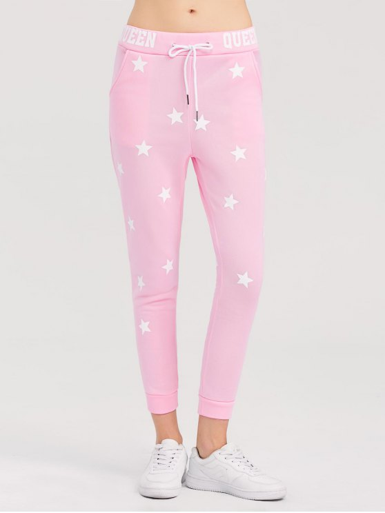 Skinny Star Print Sports Pants - PINK XL Mobile