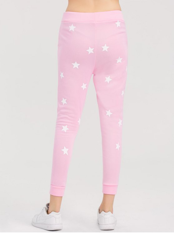 Skinny Star Print Sports Pants - PINK L Mobile
