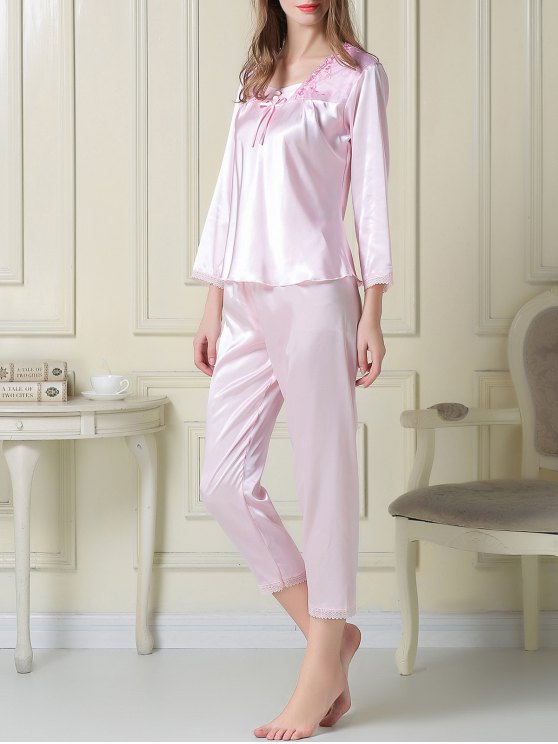Embroidered Satin Tee and Capri Pants Pajama - LIGHT PINK L Mobile