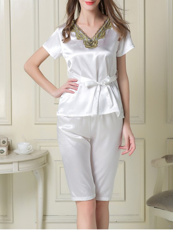 Embroidered Neckline Satin Tee and Shorts Pajama - WHITE L Mobile