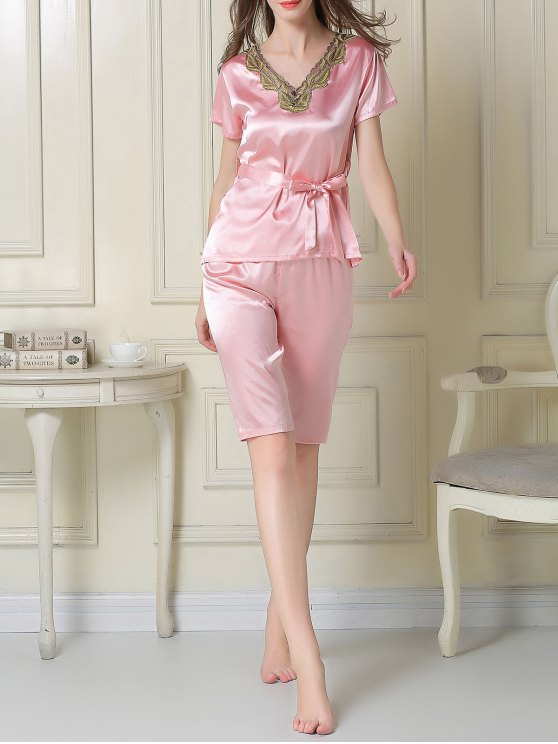 Embroidered Neckline Satin Tee and Shorts Pajama - PINK L Mobile