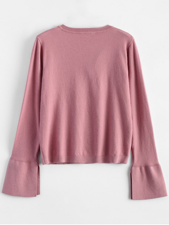 Slimming Flare Sleeve Knitwear - PINK ONE SIZE Mobile