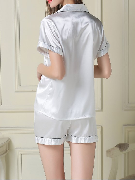 Short Sleeve Satin Boxer Pajama - WHITE M Mobile