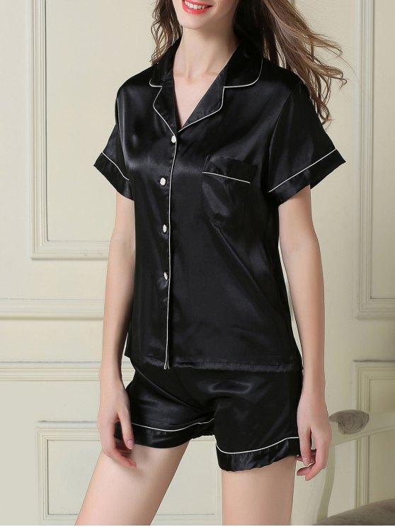 Boxer pijama de manga corta de raso - Negro M