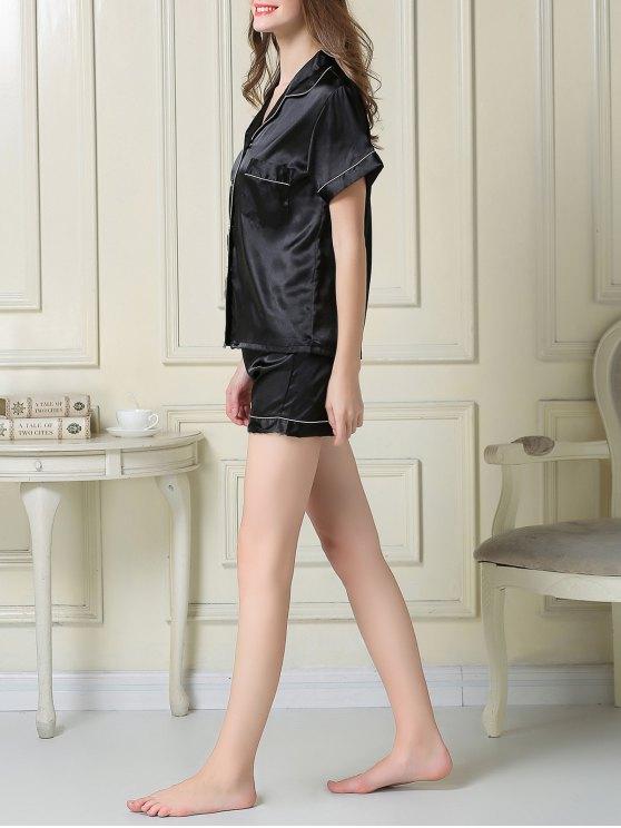 Short Sleeve Satin Boxer Pajama - BLACK L Mobile