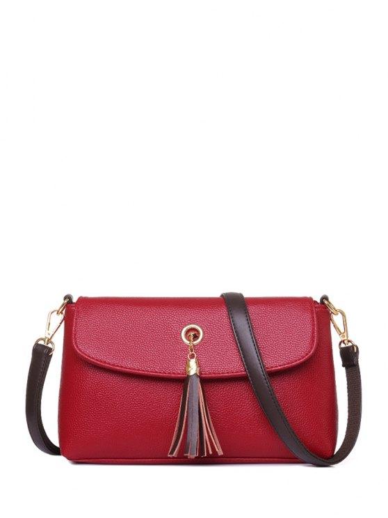 PU Leather Eyelet Tassel Shoulder Bag - RED  Mobile