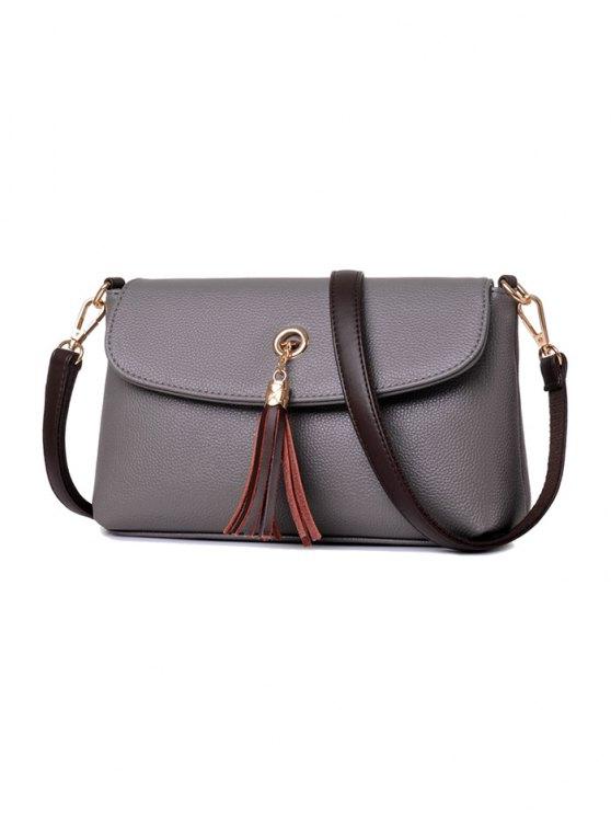 PU Leather Eyelet Tassel Shoulder Bag -   Mobile