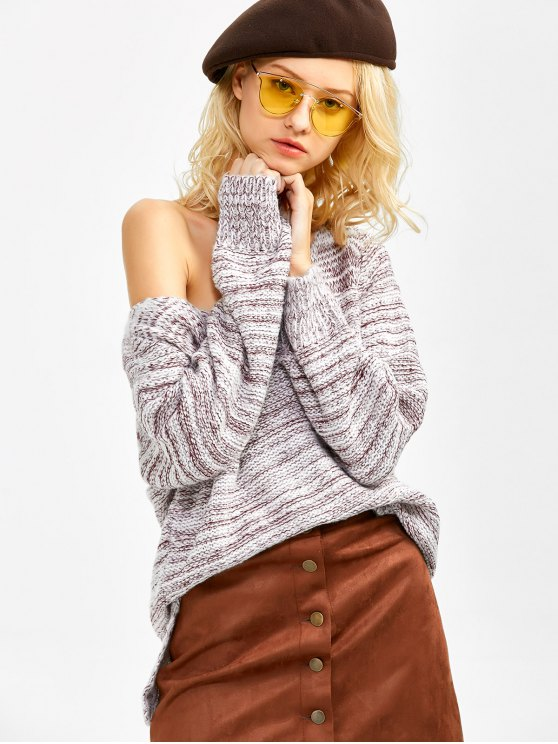 Side Slit Heathered Sweater - BURGUNDY ONE SIZE Mobile