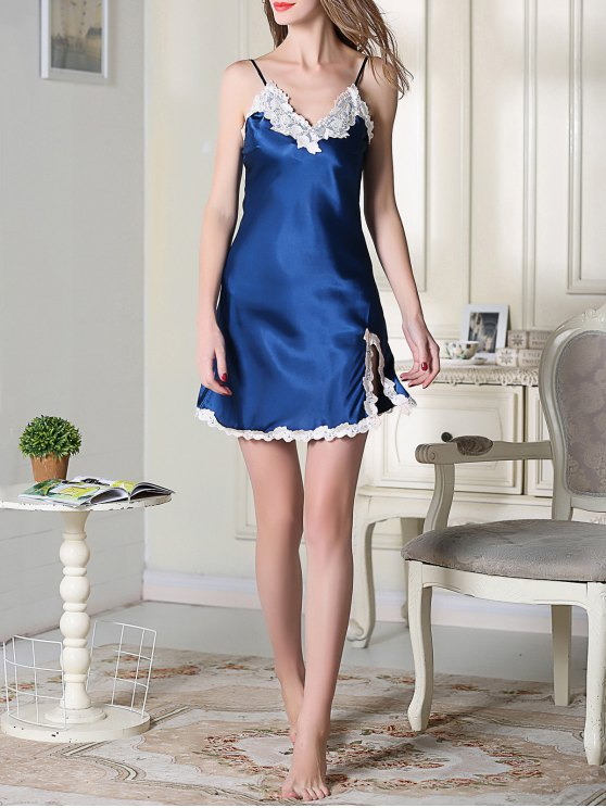 Lace Trimmed Satin Slip Sleep Dress - ROYAL BLUE L Mobile