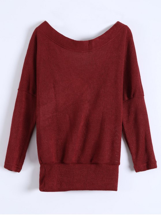 V Neck Cozy Sweater - BURGUNDY XL Mobile