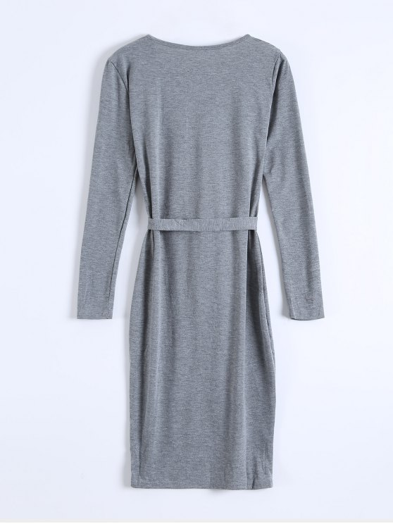 Single-Breasted Belted Bodycon Dress - GRAY XL Mobile