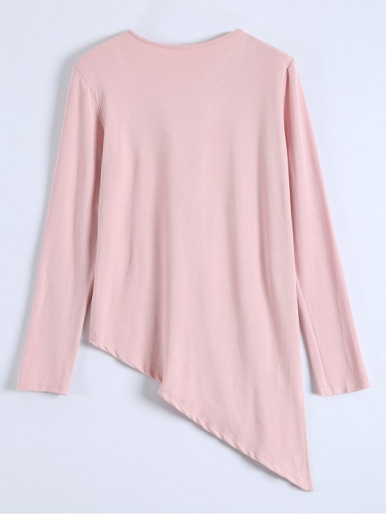 Long Sleeves Asymmetric Hem Tee - PINK XL Mobile