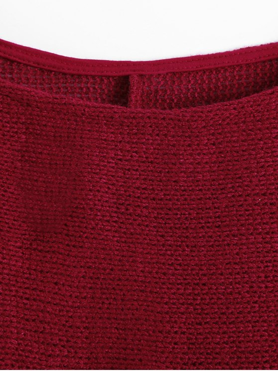 Slash Neck Pullover Sweater - BURGUNDY M Mobile