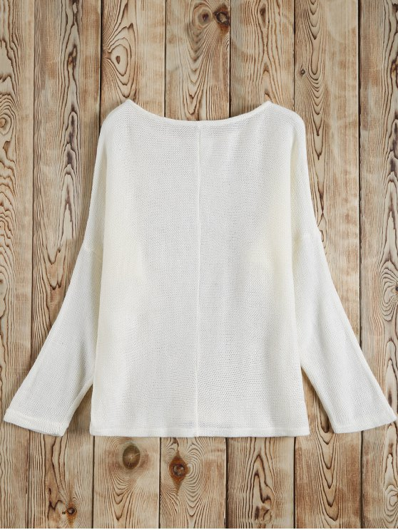 Slash Neck Pullover Sweater - WHITE M Mobile