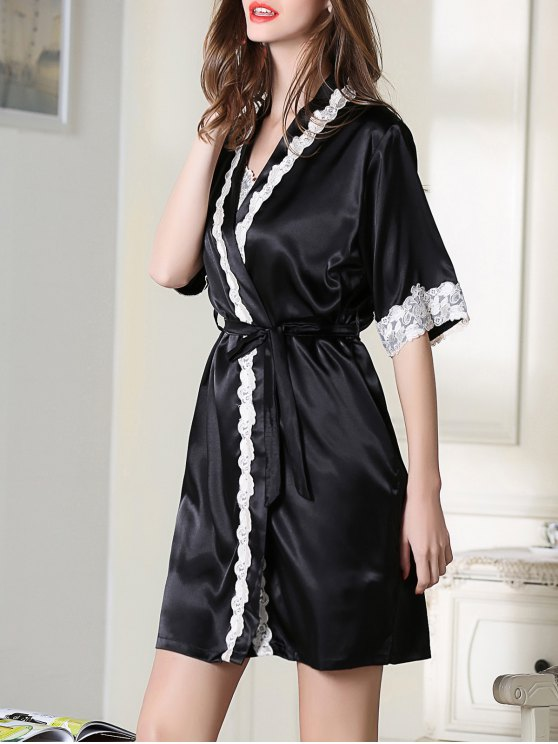 Satin Slip Dress and Belted Sleepover Robe - BLACK 2XL Mobile