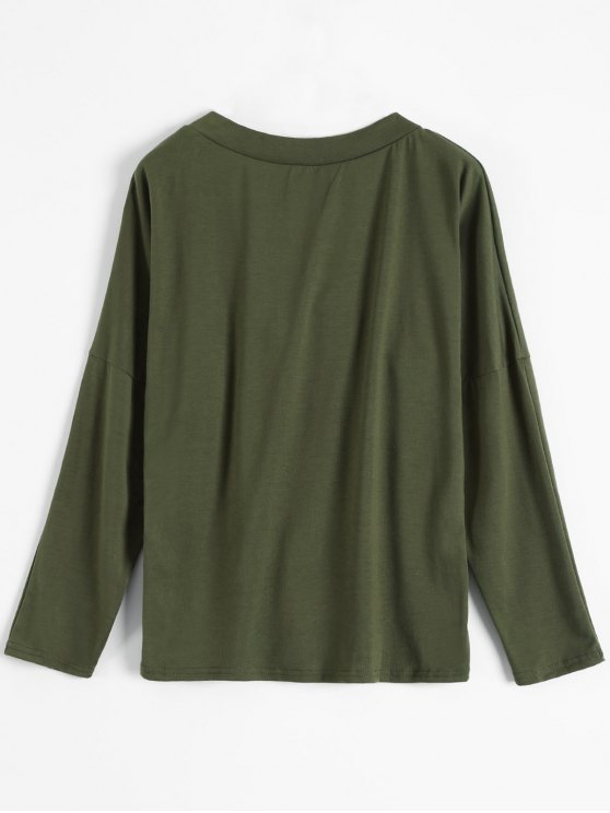 Long Sleeves Lace Up Plunge Tee - ARMY GREEN M Mobile