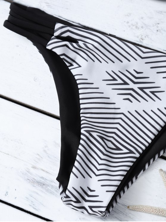 Stripes Strappy Bikini - WHITE AND BLACK L Mobile