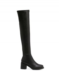 Platform Zipper Rpund Toe Thigh Boots - Black 38