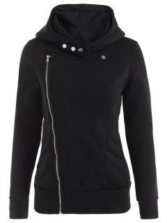 Fleece Inner Asymmetric Zip Hoodie - Black M