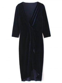 Twist Front V Neck Velvet Dress - Purplish Blue L