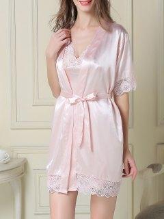 Silky Slip Dress And Robe - Light Pink M