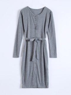 Robe Moulante à Manches Longues à Simple Boutonnage Avec Ceinture - Gris S