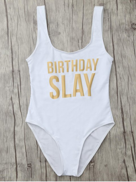 unique Birthday Slay Letter Swimwear - WHITE M Mobile